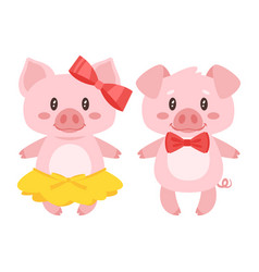 pig character boy and girl vector image vector image