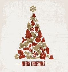 Vintage christmas tree vector image