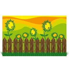 garden sunflowers vector image vector image