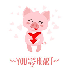 pig with heart in hand vector image