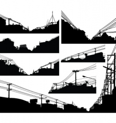 urban foreground silhouettes vector image vector image