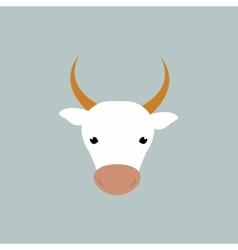 White cow head vector image