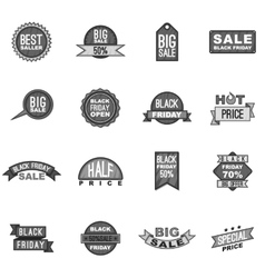 Black Friday label icons set gray monochrome style vector image