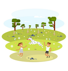 children with dalmatian vector image vector image