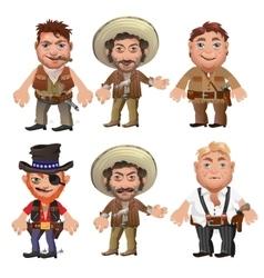 Five men characters in a cartoon wild West style vector image vector image