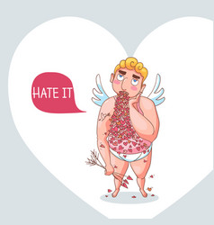greeting card with cupid for happy valentines day vector image
