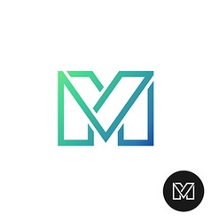 Letter M divided wide line style colorful logo vector image