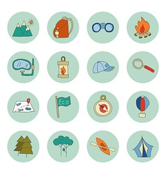Set of ecotourism icons elements isolated vector