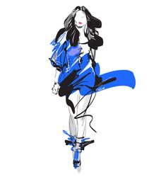 woman fashion model hand drawn sketch vector image vector image