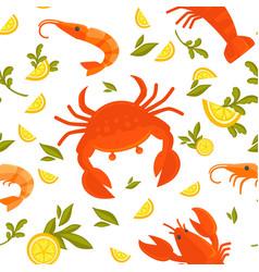 Big crab king shrimp sour lemon and fresh vector