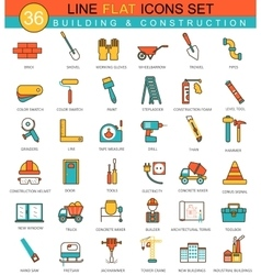 Construction and building tools flat line vector image vector image