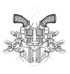 contour image of two revolvers roses and diamond vector image