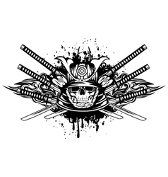 Skull in samurai helmet and crossed samurai swords vector