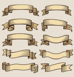 vintage design banner ribbons blank old vector image