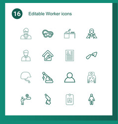 16 worker icons vector image