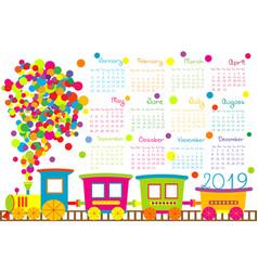 2019 calendar with cartoon train for kid vector image