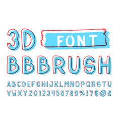 3d bold brush sans serif font hand drawn artistic vector image