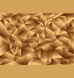 3d golden polygon background and texture low poly vector image