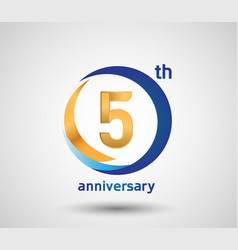5 anniversary design with blue and golden circle vector