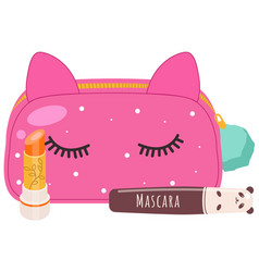 a cosmetic pink bag with make up vector image