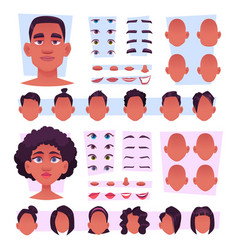 Afro characters stylish african persons avatar vector