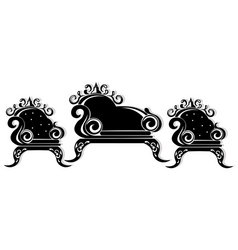 Baroque black furniture rich ornamented vector