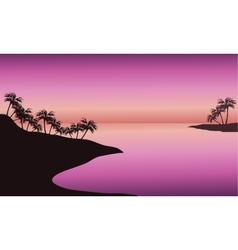 Beach at sunset silhouette vector