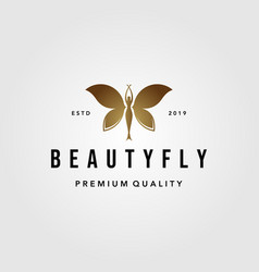 Beauty flying woman vintage butterfly logo design vector