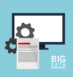 big data comuter gears document vector image