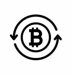 Bitcoin symbol with circle arrows vector