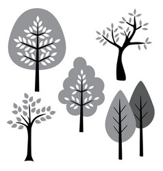 Black white gray trees vector
