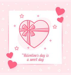 Box chocolates bow valentine card love text icon vector