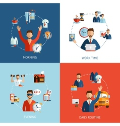 Businessman daily routine concept flat icons vector image