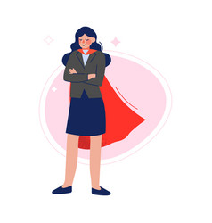 businesswoman wearing red waving cape standing vector image