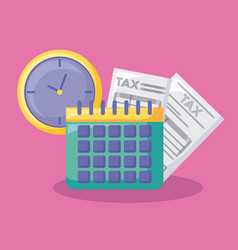 calendar with economy and financial icons vector image
