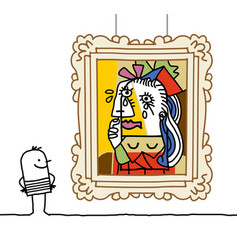 Cartoon man watching a famous painting vector