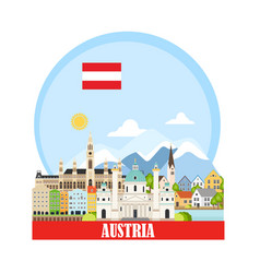 cityscape with austrian landmarks vector image