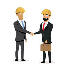 construction business partners handshake vector image