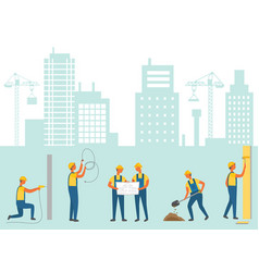 Construction new city infrastructure workers vector