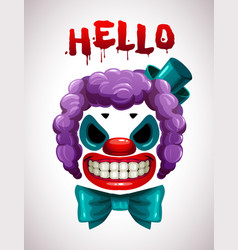 creepy clown mask angry joker face vector image