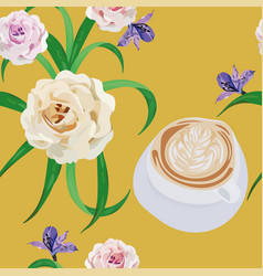 cup cappuccino flowers bouquet yellow vector image