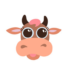 Cute brown cow smiling face with big eyes flat vector