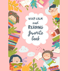 Cute frame composed children reading books vector