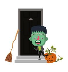 Cute little boy with house door frankenstein vector