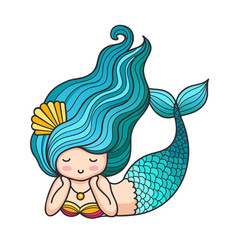Cute lying dreamy mermaid with curly blue hair vector