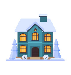 cute snowy house two storey cottage building vector image