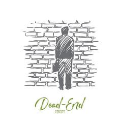 Dead-end problem impasse ponder concept hand vector