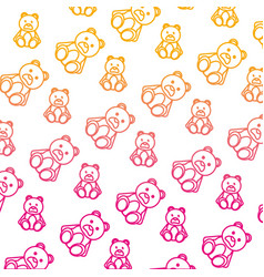 Degraded line bear teddy cute toy background vector