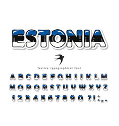 estonia cartoon font estonian national flag vector image