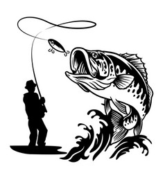 fisherman catching big bass fish in black and vector image